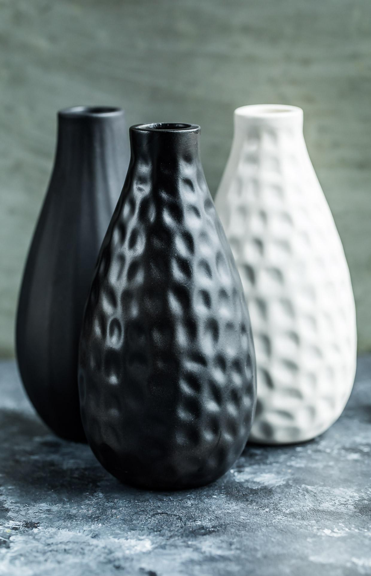 trio of matte chalkboard vases