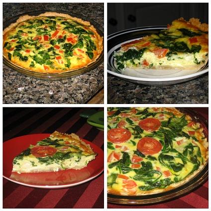 spinach tomato quiche collage