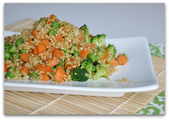 Quinoa Fried Rice with Broccoli, Peas, and Carrots