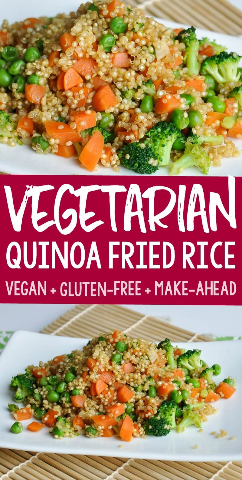 This flavorful vegetarian quinoa fried rice with broccoli, peas, and carrots, is healthy and delicious! Your family will love this tasty gluten-free dish!