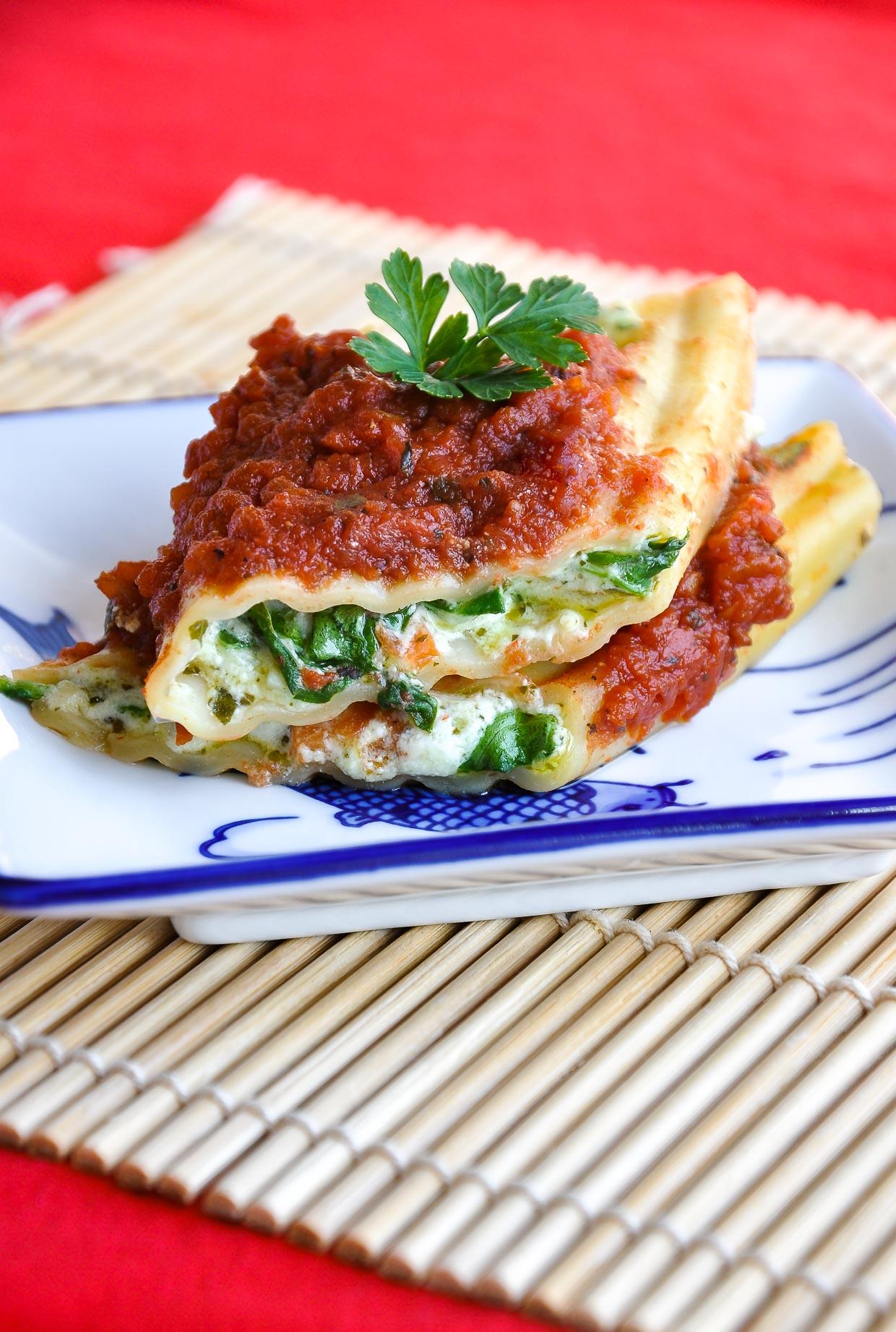 Vegetarian Pesto Veggie Manicotti