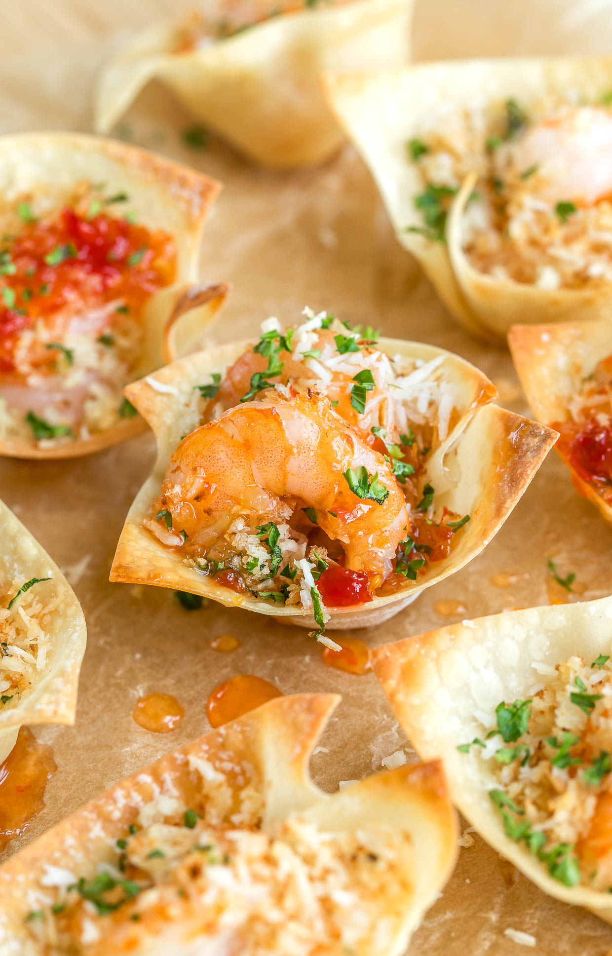 Coconut Shrimp Won-ton Cups