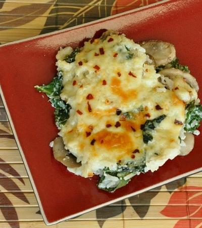 Cheesy Kale, Mushroom, and Rice Casserole