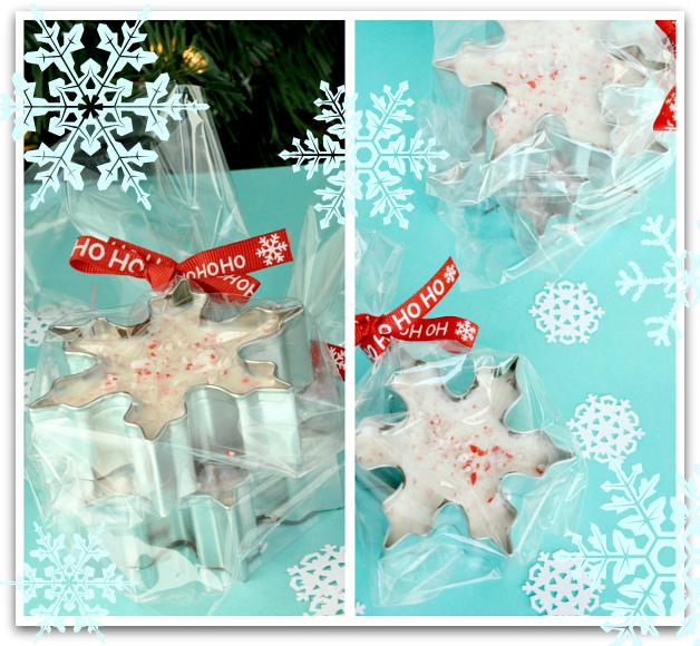 Snowflake Peppermint Bark in Snowflake Cookie Cutters