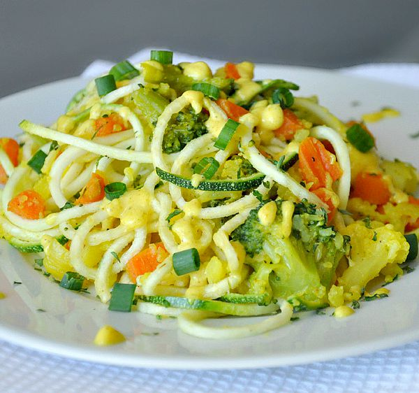 Creamy Curry Spiralized Zucchini Pasta Vegan Vegetarian Gluten Free