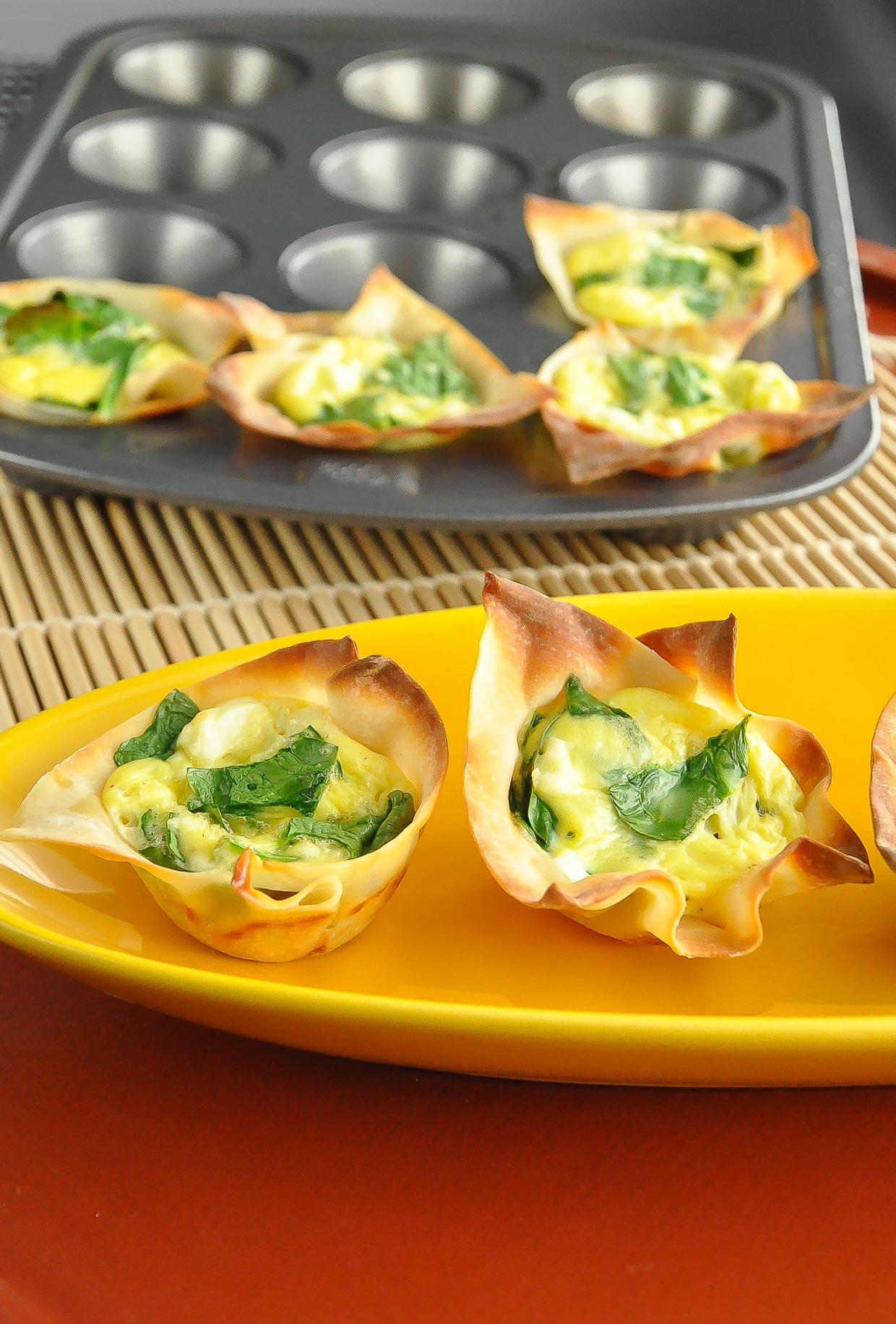 Spinach and Feta Won-ton Quiche Cups Recipe