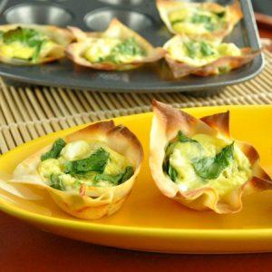 Spinach and Feta Won-ton Quiche Cups