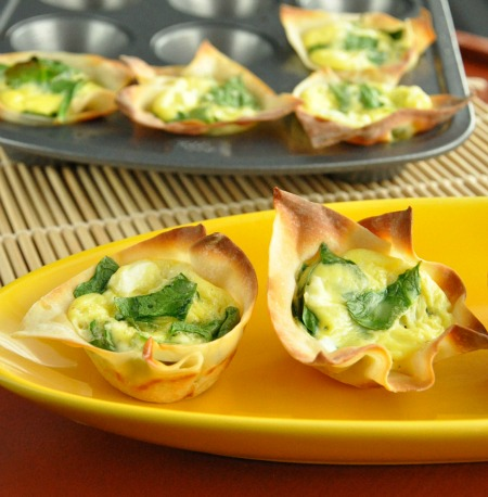 Quick and Easy Mini Wonton Quiche Cups with Spinach and Feta