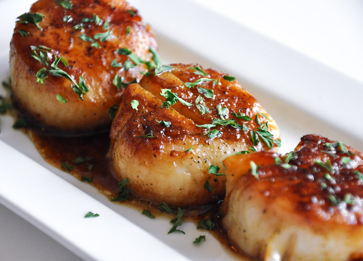 Perfect Seared Scallops And Spicy Kani Salad