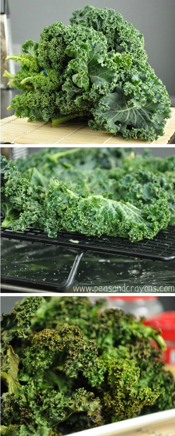 Spicy Kale Chips Collage