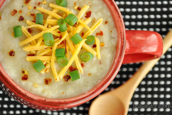 Veggie Loaded Baked Potato Soup... in the crock-pot!