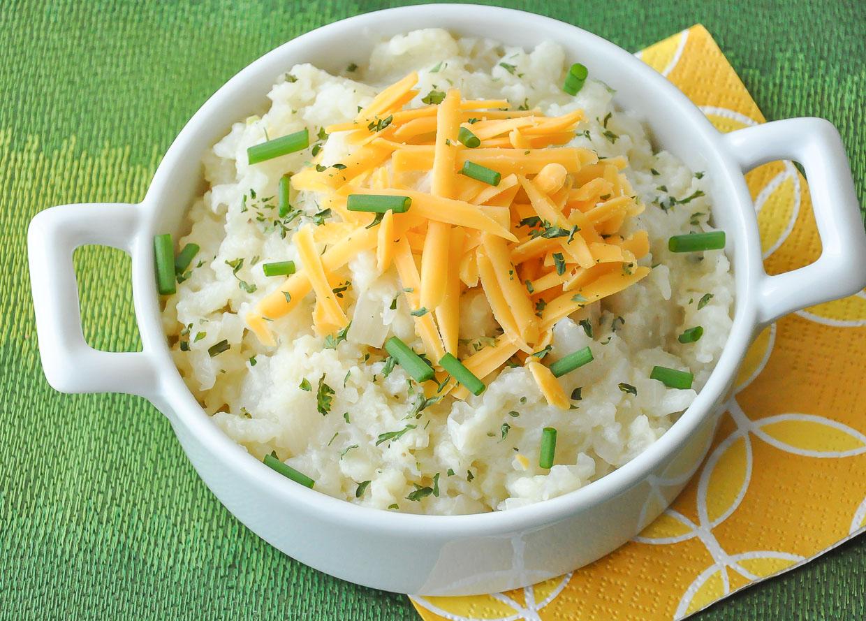 Mashed Cauliflower with Caramelized Onion and Roasted Garlic