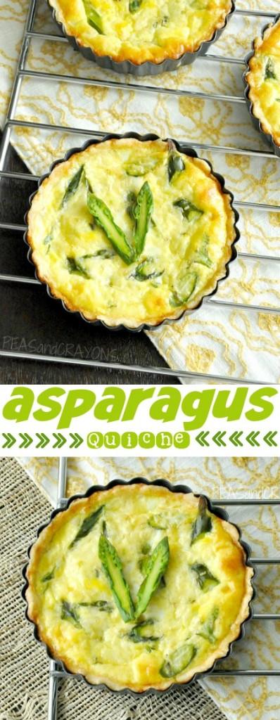 Fluffy Homemade Asparagus + Feta Quiche :: makes 4 mini or 1 large quiche :: Yum!