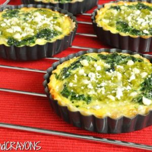 Spinach and Feta Quiche with Asparagus Pesto Swirl