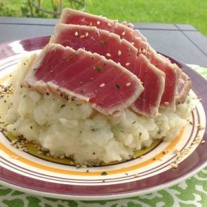 Sesame Seared Tuna and Wasabi Mashed Potatoes