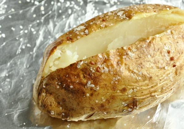 Sliced Baked Potato with Kosher Salt