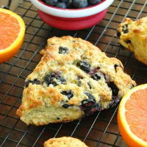 Fluffy Honey Glazed Orange Blueberry Scones