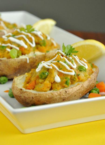 Samosa Stuffed Potatoes