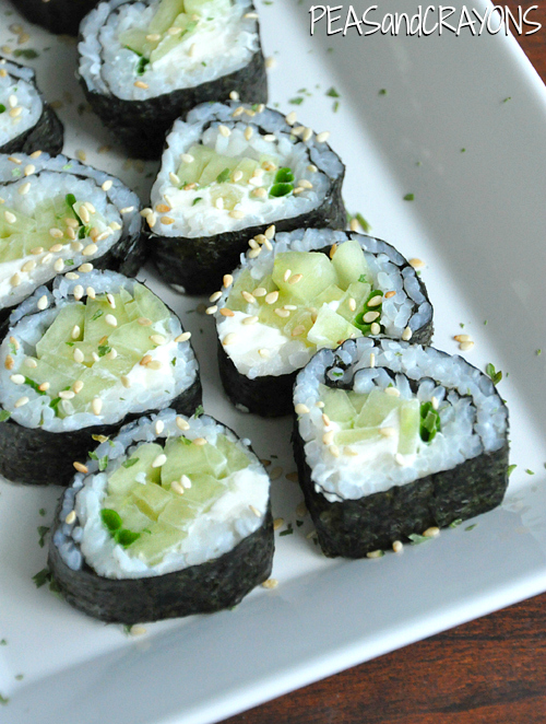 Homemade Sushi Cucumber Rolls with Cream Cheese