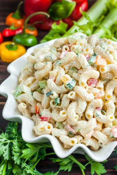 This quick and easy homestyle macaroni salad is the perfect side dish for your Spring picnics and Summer barbecues!