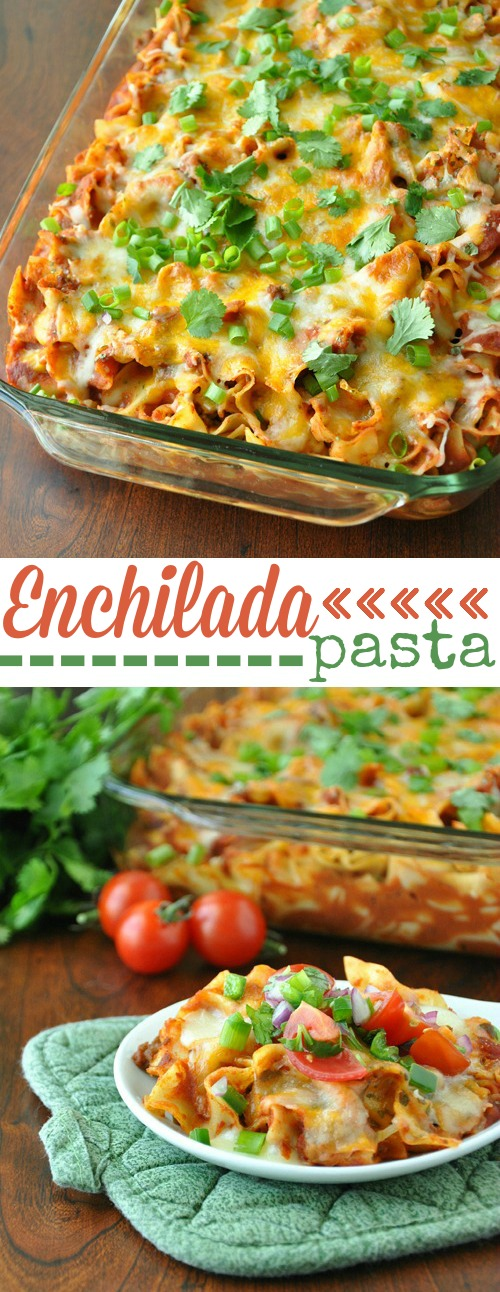 Fiesta Enchilada Pasta Casserole and Healthy Homemade Enchilada Sauce :: this delicious (freezer-friendly!) dinner can be made ahead and enjoyed all week long! It's SO good!