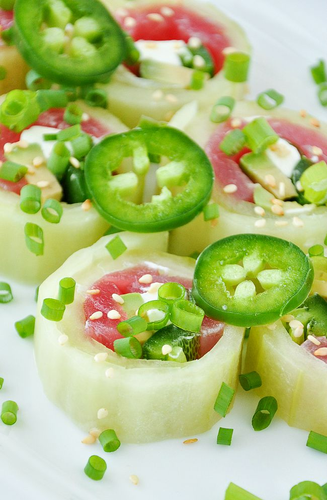 Homemade Cucumber Rolls :: You're gonna LOVE these rice-free sushi rolls!