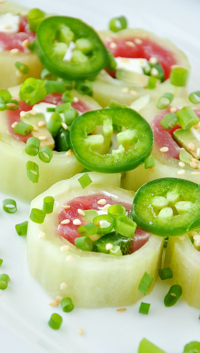 Homemade Cucumber Rolls :: Tasty homemade sushi rolls with no rice!