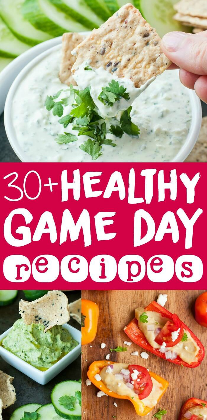 30+ Healthy Game Day Recipes :: Ditch the deep-fried chips and frozen apps and whip up these veggie-centric dips, finger foods, and snacks for the big game!