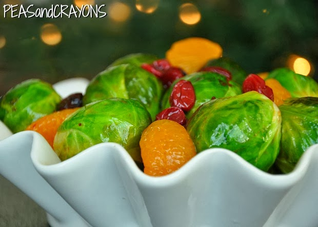 Cranberry Clementine Brussels Sprouts with Blood Orange Brown Sugar Glaze