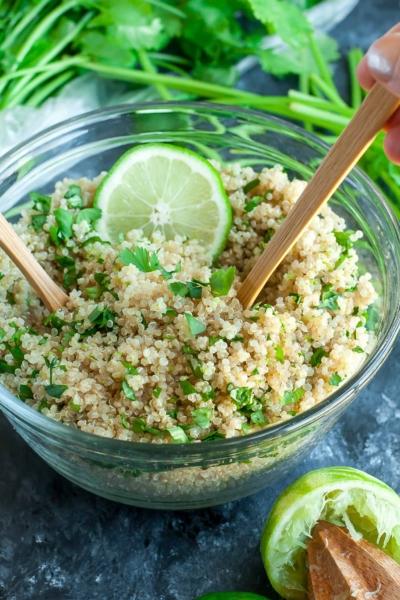 Cilantro Lime Quinoa - 3 cups of fluffy quinoa with cilantro and lime!