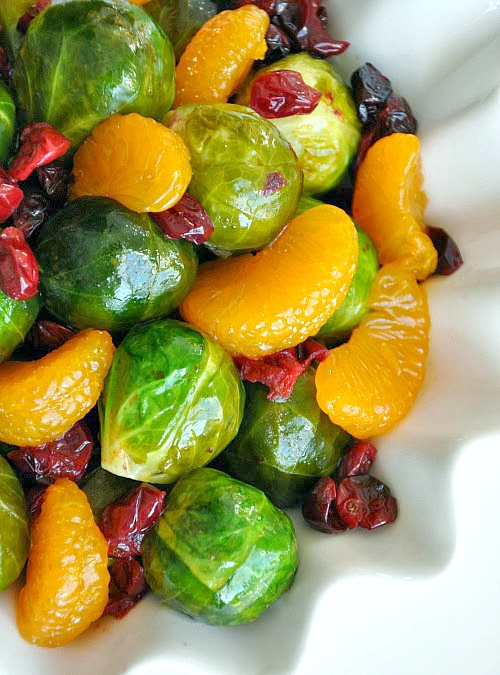 Roasted Brussels Sprouts with Cranberries and Clementines