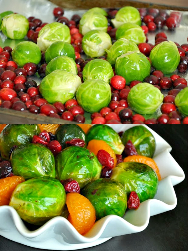 Cranberry Clementine Brussels Sprouts with Blood Orange Brown Sugar Glaze :: the perfect side dish for the holidays!