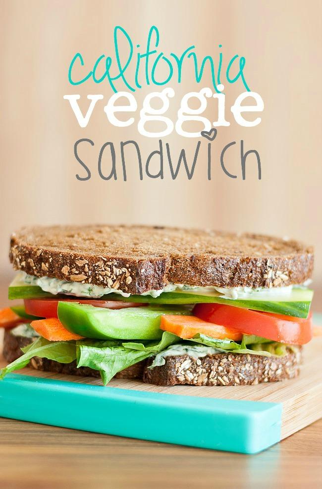 Vegetarian Sandwiches - California Veggie Sandwich with Spinach Dip Spread