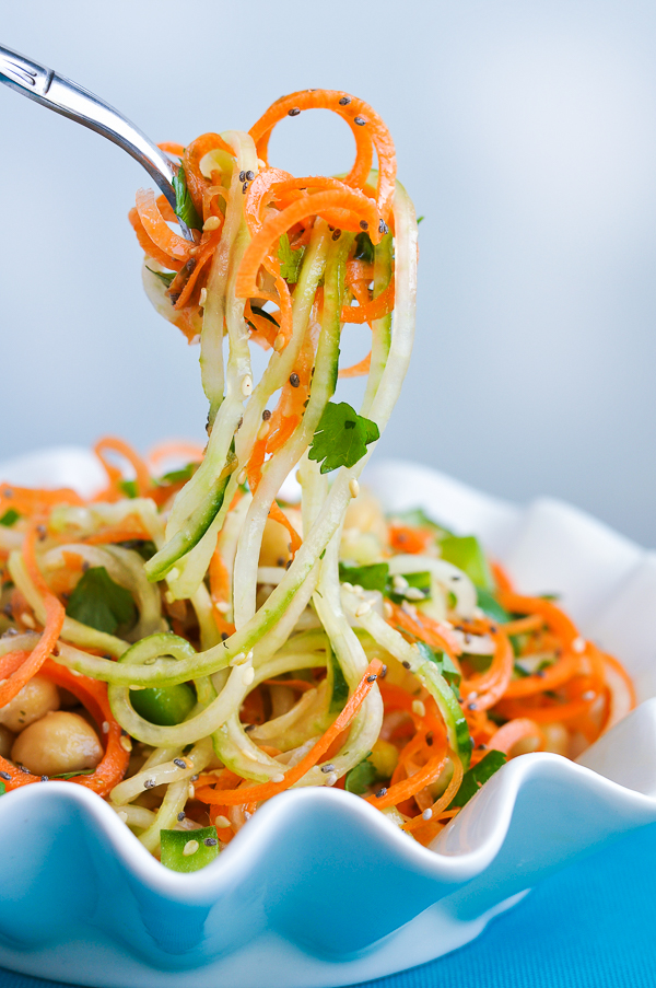 Thai Salad with Carrot and Cucumber Noodles - action shot