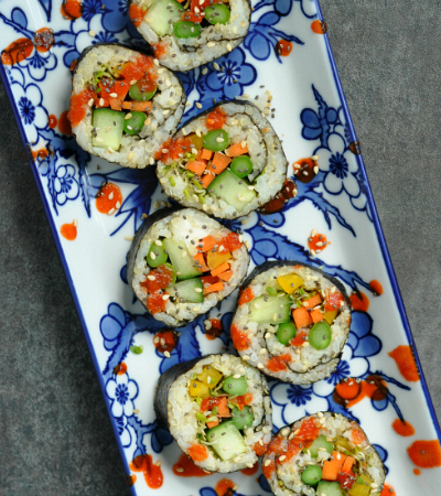 Vegan and Vegetarian Sushi Rolls with Quinoa Sticky Rice