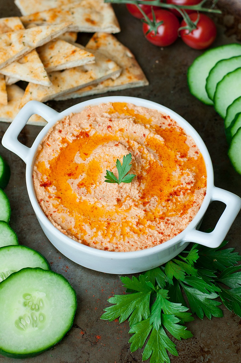 Whip up this quick and easy roasted red pepper hummus and snack happy!