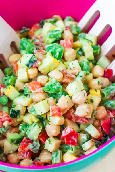 This Farmer's Market Chopped Salad is topped with an irresistible avocado dill dressing that is sure to earn itself a spot on the table with all your glorious Summer eats! Vegan + Paleo