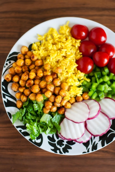 Roasted Chickpea Taco Salad Rice Bowls