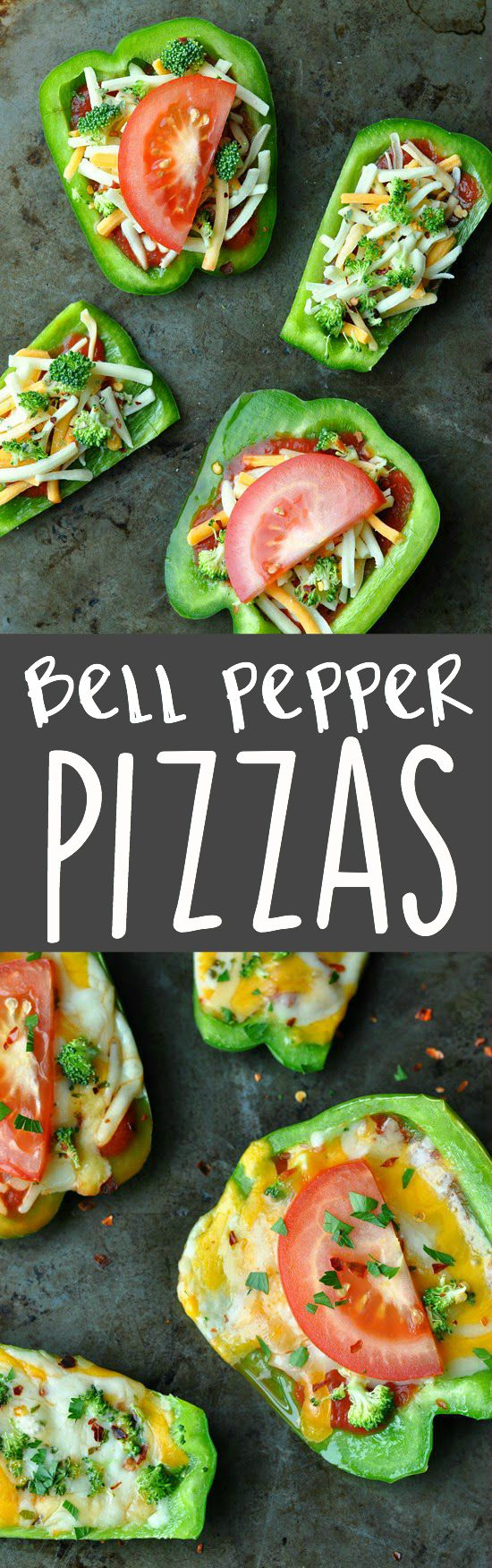 Ditch the crust and grab a bell pepper! These mini pizzas rock!