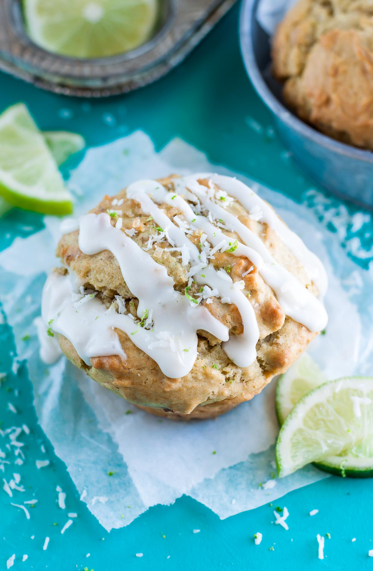 Coconut Lime Avocado Muffins with Icing