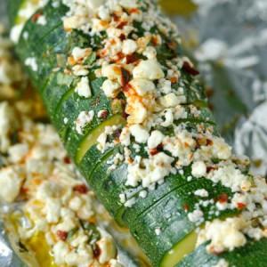 Hasselback Zucchini with Lemon, Basil, and Feta