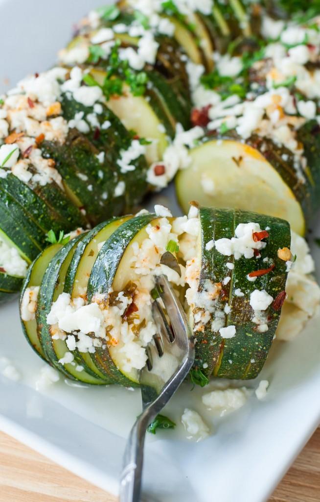 Hasselback Zucchini with Lemon and Feta