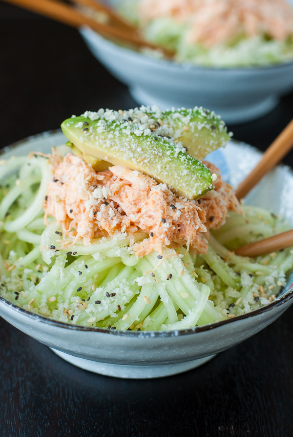 Spiralized Spicy Sriracha Crab and Cucumber Salad
