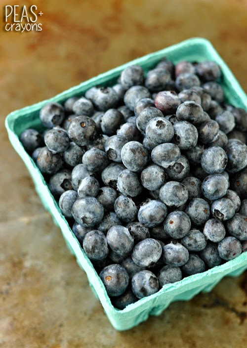 local farm-fresh blueberries in teal carton