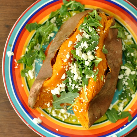 Savory Stuffed Sweet Potatoes with Feta and Arugula