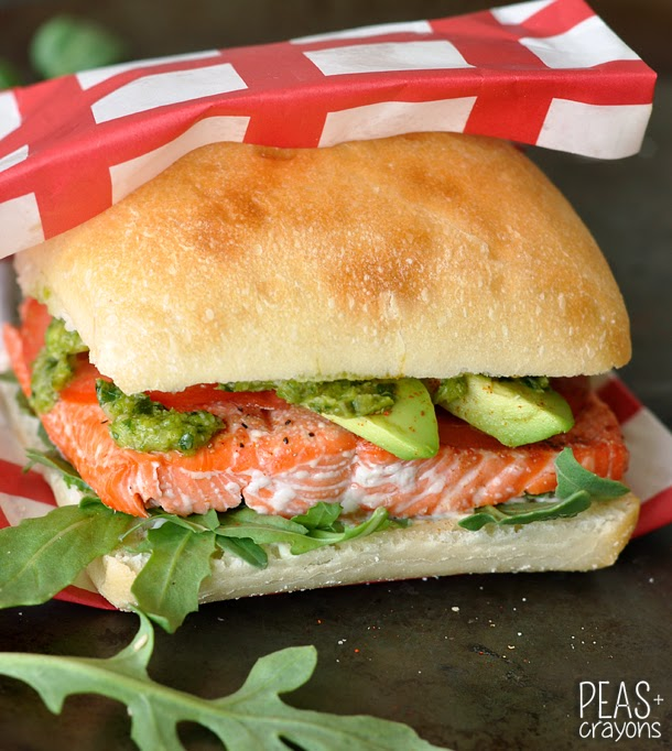 Grilled Salmon Sandwiches With Pesto Avocado Spread & A ...