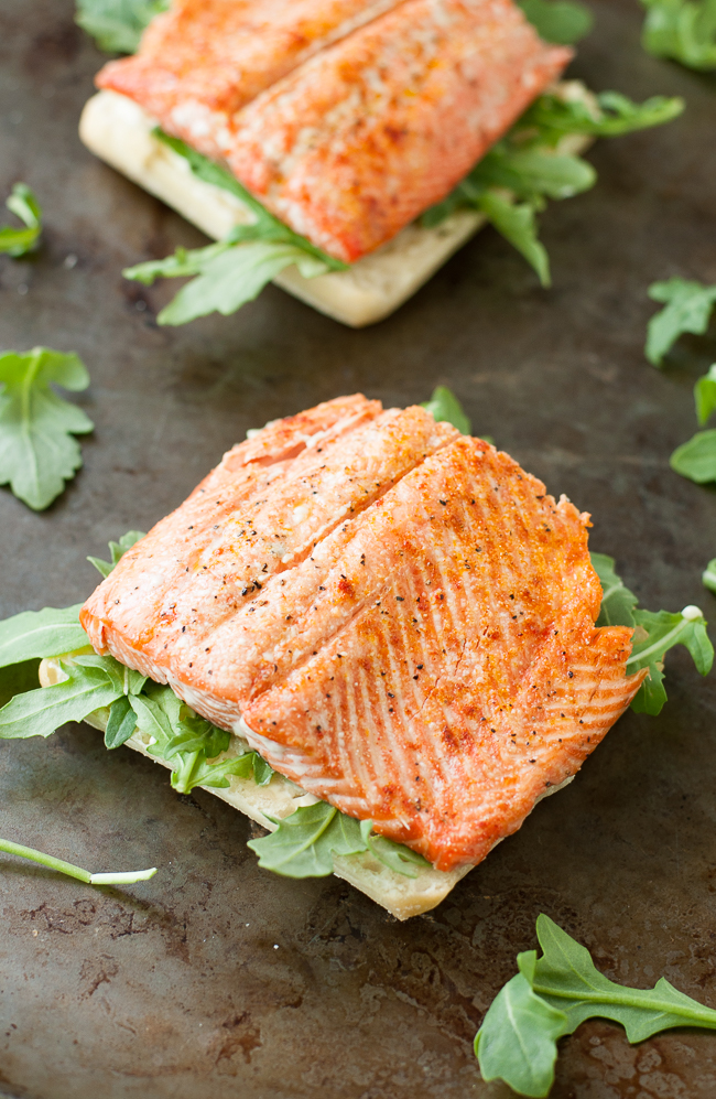 Grilled Salmon Sandwiches with Arugula, Avocado, and Pesto