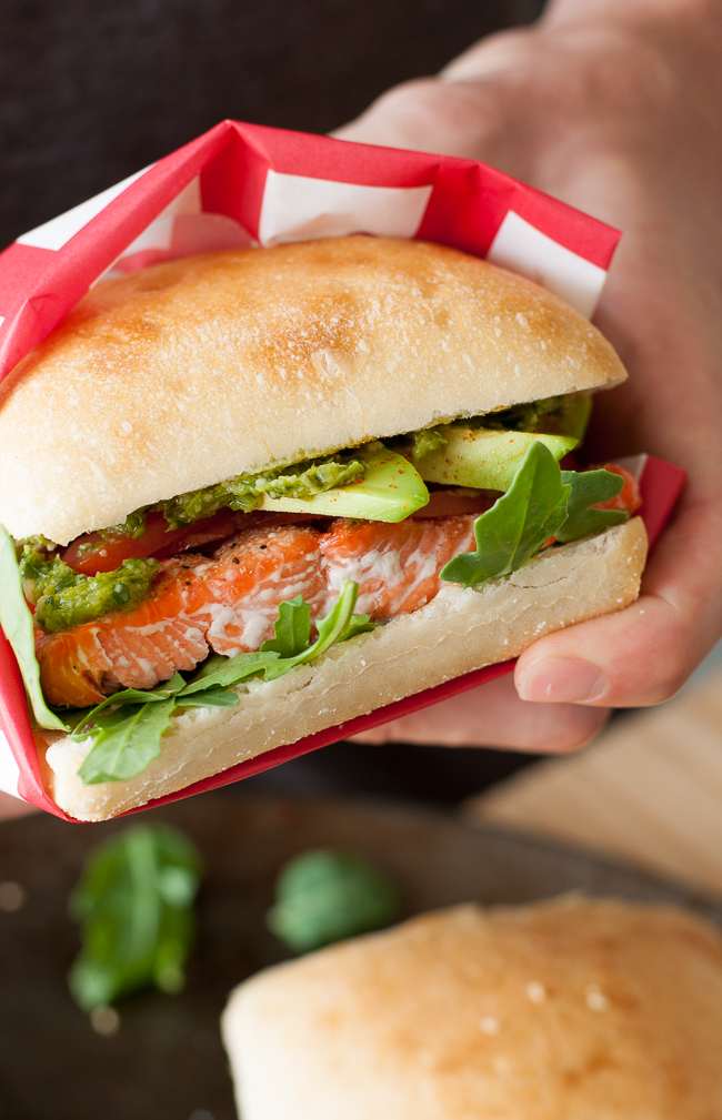 Grilled Salmon Ciabatta Sandwiches with Arugula, Avocado, and Pesto