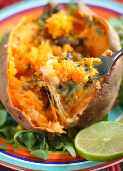 Cheesy Veggie Burger Stuffed Sweet Potatoes