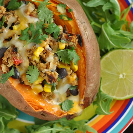 Veggie Burger Stuffed Sweet Potatoes